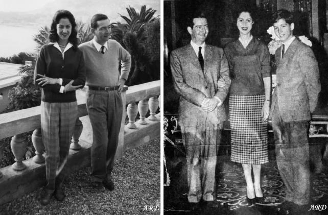 Peter and Alexandra in their later years: in Monte Carlo in 1960 (left) and with the teenage Alexander in 1960s (right)