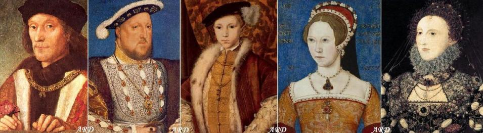 The five Tudor Monarchs: Henry VII, Henry VIII, Edward VI, Mary I, and Elizabeth I